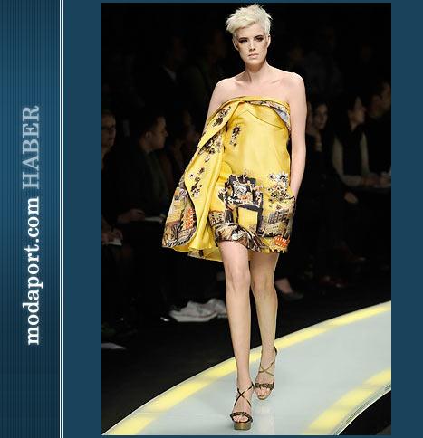 Versace Sarı Kısa Elbise
