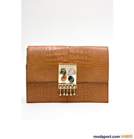 Missoni - Taş detaylı timsah desenli zarf çanta