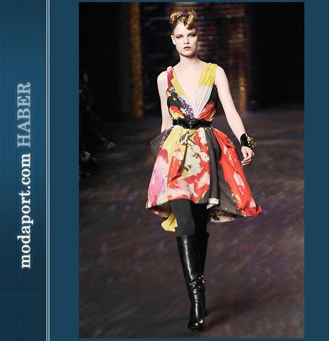 Christian Lacroix V Yaka Kabarık Etekli Elbise