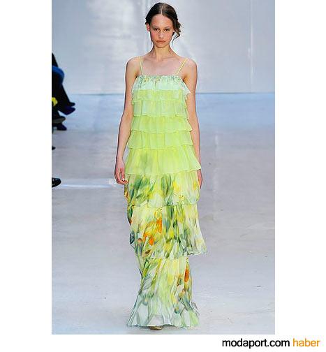 Kat kat şifondan yeşil abiye elbise