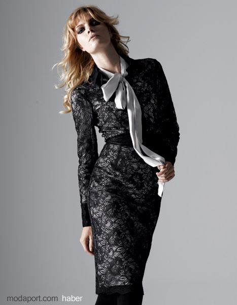 Koton 2008 Sonbahar 2009 Kış Koleksiyonu - Dantel Temasından Desenli Diz Elbise - Fiyatlar: Gömlek 79,99 YTL - Ceket 79,99 YTL - Etek 69,99 YTL