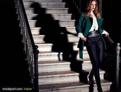 Yeşil Palto ve Siyah Pantalon ile Şık Bir Kombinasyon