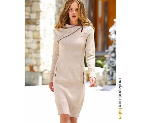 Victoria's Secret'ın beyaz örgü elbise modeline, fermuar eklenmiş