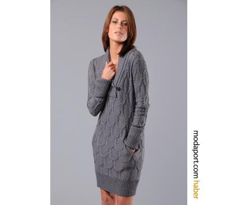 Quicksilver markalı bu örgü elbise modelinin kotun üzerine de yakışması mümkün