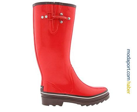 Kate Spade metal detaylı kırmızı plastik çizme