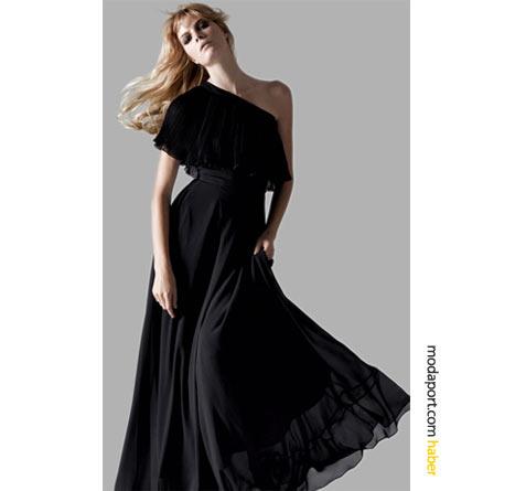 Koton un siyah uzun abiye elbisesi