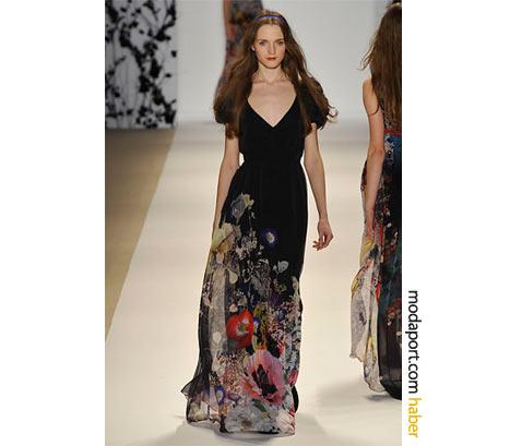 Erin Fetherston'ın siyah üzerine çiçek desenli şifon gece elbisesi, bahar gecelerini kış gecelerine taşıyor.