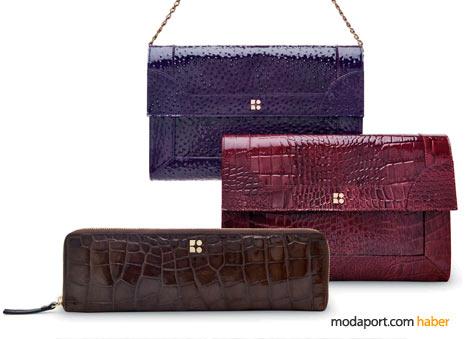 Kate Spade el çantaları sezonun iki trendini barındırıyor: mor, fuşya ve egzotik deriler (timsah, yılan ve devekuşu)