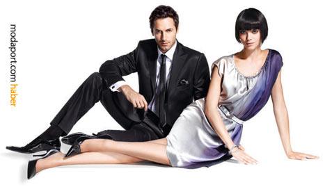 Pierre Cardin sever bir çift: takım elbise ve saten elbise