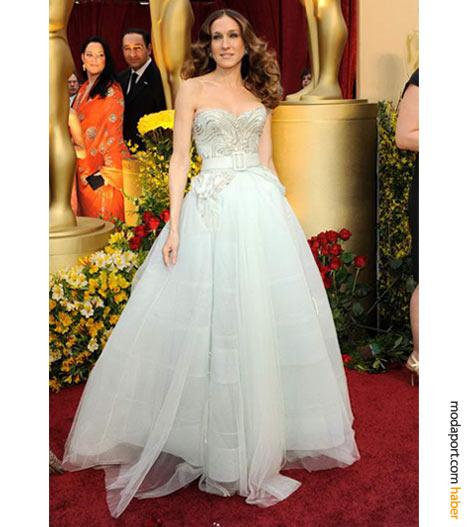 Sarah Jessica Parker, Christian Dior Haute Couture abiye ve Fred Leighton mücevherlerle