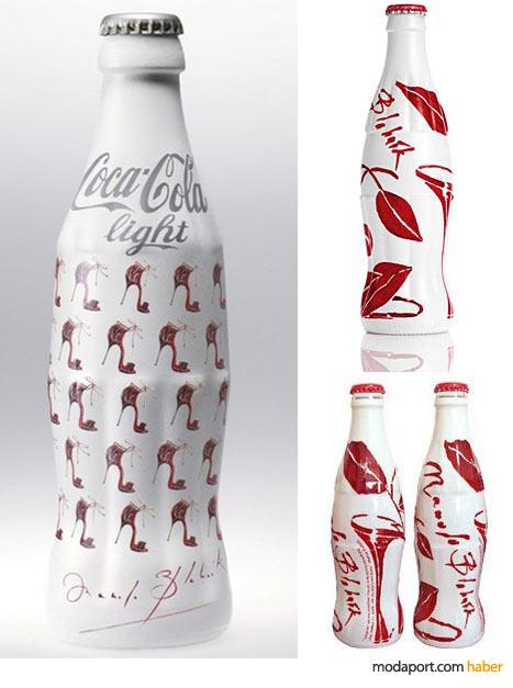 Manolo Blahnik'in topuklu ayakkabı desenleriyle süslediği Coca-Cola şişesi, moda düşkünleri için hazine değerinde