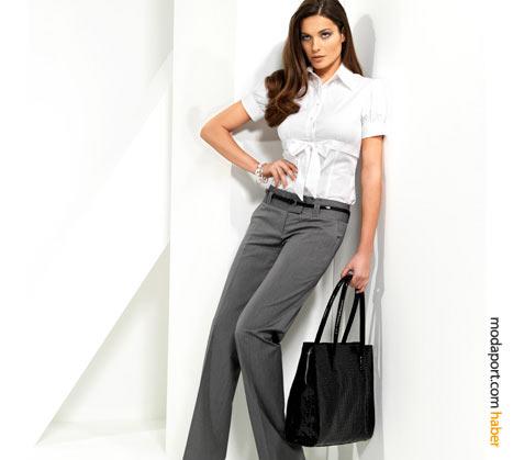 Fiyonklu beyaz gömlek ve gri pantolon, iş için ideal