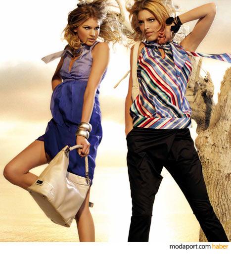 Desa koleksiyonundan degrade yazlık elbise, 2009 trendi şalvar pantolon, bluz ve deri çanta
