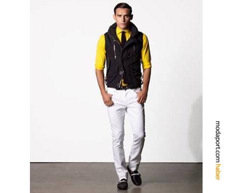Erkek giyiminde bu yaz canlı renkler de ön planda: Sapsarı bir gömlek, kravat, spor yelek ve beyaz pantolonla, alışılmadık bir Ralph Lauren kombinasyonu yaratabilirsiniz