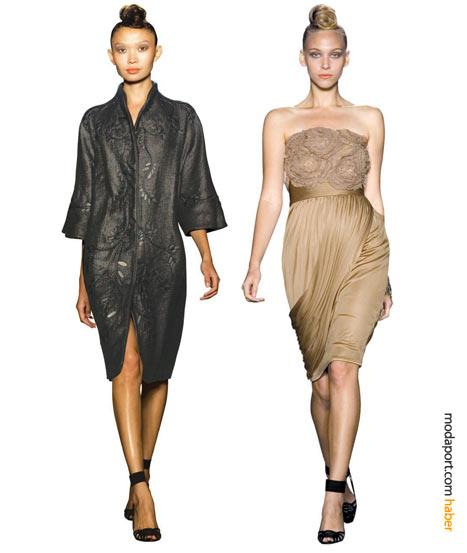 Siyah işli kaftan ve tülden gülleriyle ten rengi elbise, iddialı ve feminen birer gece elbisesi alternatifi