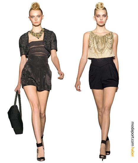 Malandrino koleksiyonunda yüksek belli abiye şortlar ve kısa üstlerle heyecan verici gece kıyafetleri yaratmak mümkün.