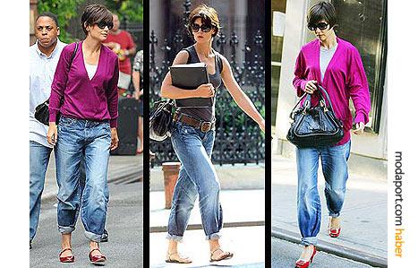 Klasik giyim tarzını değiştirip, daha salaş spor tarza geçen Katie Holmes için boyfriend jeans modasının öncüsü desek yanlış olmaz