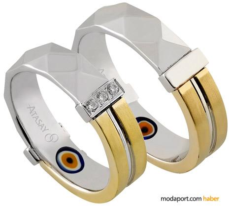 Mat, parlak, sarı ve beyaz altın gibi çeşitli alyans modelleri de nazardan koruyor..