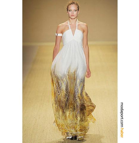 Monique Lhuillier şifon yazlık gece elbisesi