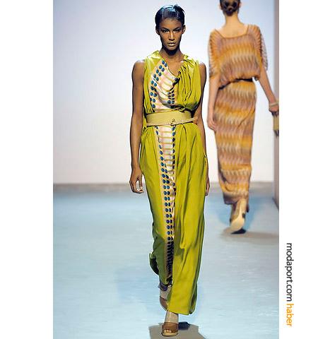 Missoni yeşil uzun elbise