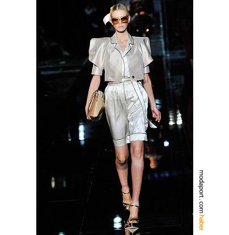Dolce & Gabbana saten bermuda-ceket takımı