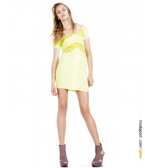 Sarı dar elbise