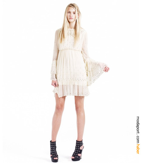 Topshop Christopher Kane koleksiyonundan beyaz elbise