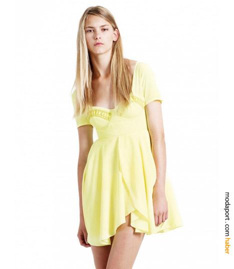 Sarı mini elbise
