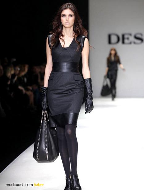 Deri detaylı kumaş elbise, Desa çanta ve eldivenlerle tamamlanmış..