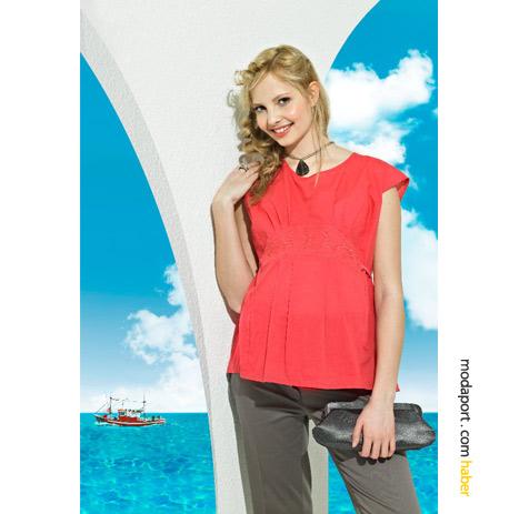 GeBe'nin yazlık hamile giyim koleksiyonunda, geceleri giyilebilecek canlı renkli kıyafetler var..