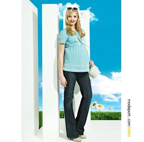 Yumuşak denimden hamile kot pantolonları, GeBe'nin yaz koleksiyonu farklı modellerde..