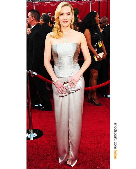 Kate Winslet, YSL gece elbisesi ve Tiffany & Co. mücevherleriyle..
