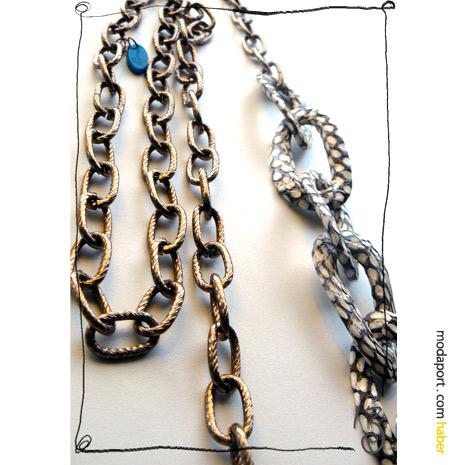 Didem'in İzi for Askı.. Askı için tasarladığı kolyede Didem Aras, metal ve yılan derisi zincir kullanmış