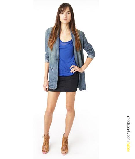DKNY Jeans'in spandex kumaştan 4-in-1 tube elbiseleri, aynı zamanda hem tunik altı, hem de atlet ve mini etek oluyor. İlkbahar yaz 2010 sezonunun gözdelerinden boyriend blazer ceket, denim.