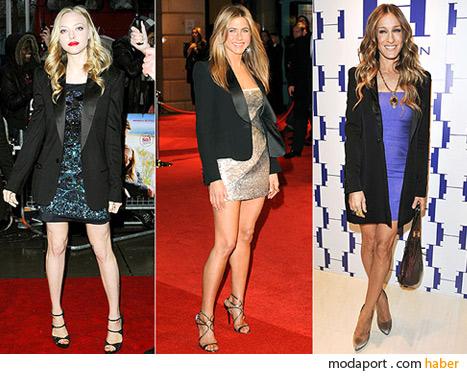 Amanda Seyfried, Jennifer Aniston ve Sarah Jessica Parker'ın smokin ceketleri ne kadar popüler olacak?