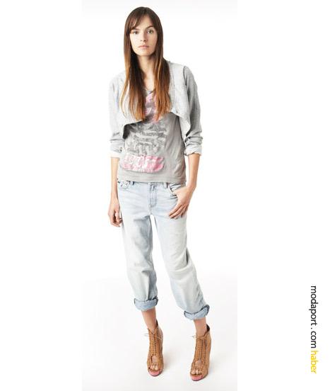 DKNY boyfriend jean üzerine asimetrik pamuklu ceket, spor bir genç kız stili..