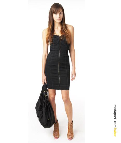 DKNY Jeans'in bu siyah büstiyer elbisesi, yaz gecelerine de uygun seksi bir genç giyim stilini yansıtıyor. Siyah Aviator çanta pamuk kumaştan..