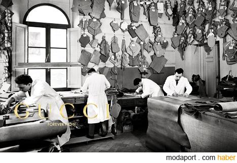 Gucci'nin İtalya'daki ilk çanta yapım atölyesinden bu fotoğraf, maranın Forever Now reklam kampanyasında kullanıldı..