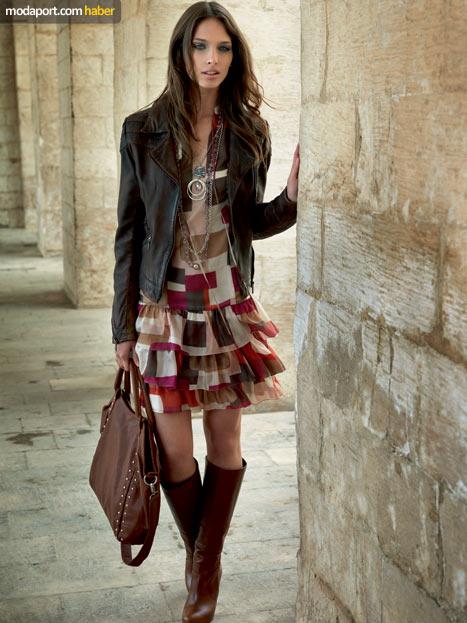 Fabrika Sonbahar Kış Koleksiyonu 2010-2011 Kareli Elbise