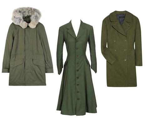 Soldan sağa: Marc by Marc Jacobs kürklü yakalı haki palto 598$ Junya Watanabe vücuda oturan haki palto 1700$ Rag & Bone haki trençkot 690$