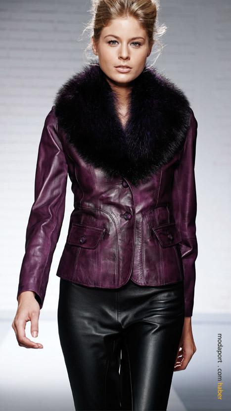 Sezon trendlerinden kürklü deri ceket modelleri de kampanya seçenekleri arasında..