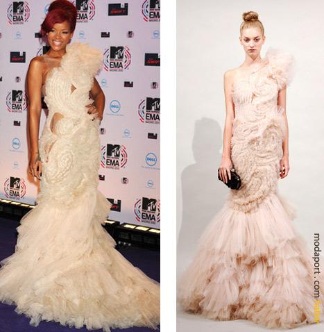 Marchesa yarı transparan gece elbisesiyle Rihanna