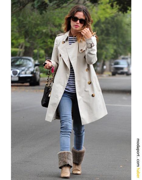 Rachel Bilson krem rengi klasik Burberry trençkot stili ve kürklü botlarıyla