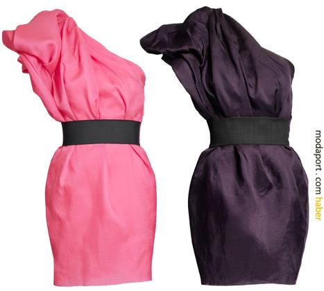 Tek omuzlu abiye elbiselerin fiyatı 299 TL