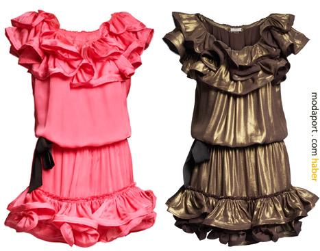 Metalik ve pembe renklerdeki fırfırlı elbiseler 299 TL