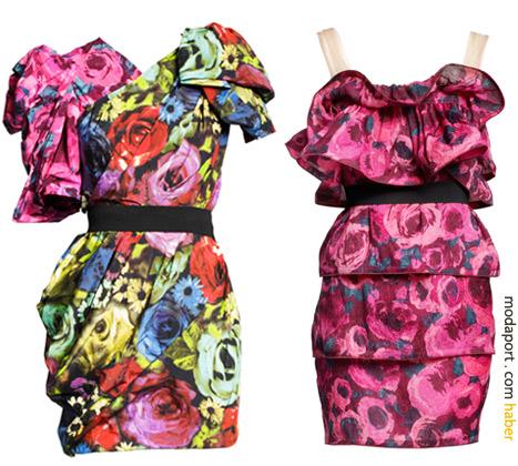 H&M elbiseler Lanvin çiçekleri ve siluetleriyle. Soldaki elbise 399 TL. Sağdaki askılı elbise 299 TL.