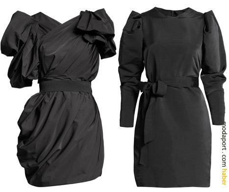 Lanvin'in imzası olan heykelsi yapılı mini elbise 299, uzun kollu siyah elbise 199 TL