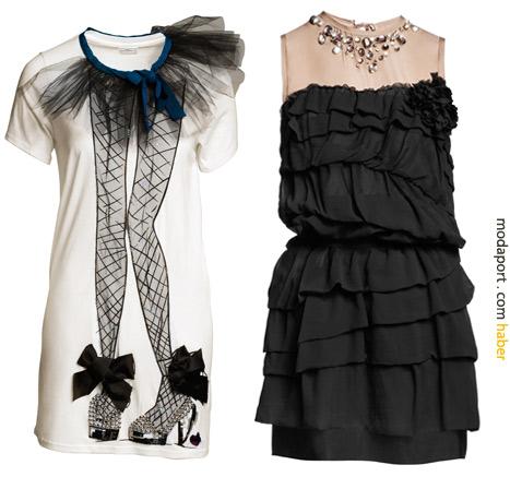 Uzun beyaz tişörtün fiyatı 79,95 TL, Fırfırlı siyah elbise 299 TL