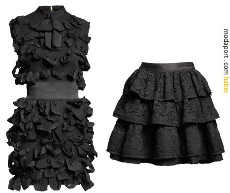Kemerli siyah elbise 249 TL. Fırfırlı dantel etek 169 TL