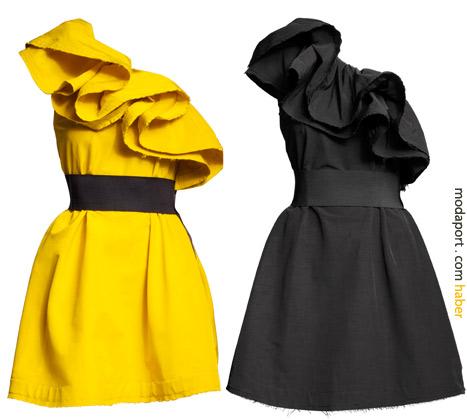 Sarı ve siyah renkleri olan tek omuzlu elbise 299 TL